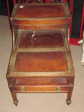 Leather Top End Table JUNKMARKET Style
