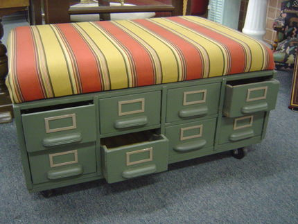 Junk to Jadorable: Card File Ottoman  Curbly | DIY Design Community  Keywords: junk, jadorable, card_file_ottoman, ottoman :  project diy vintage card