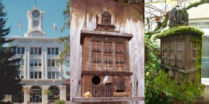 This replica of the Empire Building is both a nesting box and a bird feeder. Located in historic court house square in Santa Rosa California its just one of many classic historical building in the area.  Built from lumber salvaged from what was once the largest pig farm in the county.