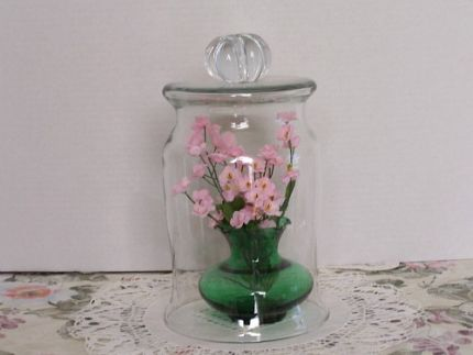 Glass Bell Cloche Anchor Hocking Forest Green Vase Pink Flowers