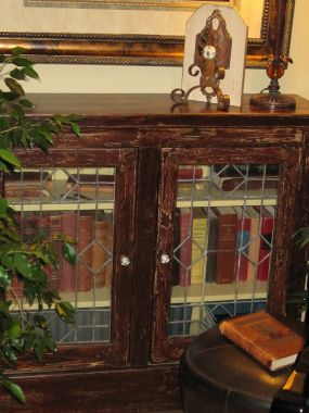Vintage Bookcase with Leaded Glass Doors