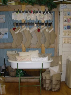 Lots of stockings and pillows made from burlap and vintage fabrics.