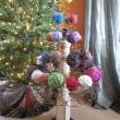 Bed Spring Christmas Tree with left over yarn ball ornaments