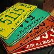 License plates are right up at the top of the list for me.  They offer so much variety and styles.  One little tip:  Ive come to know that vintage plates from Illinois offer the best, unique colors.  From circular structures for my birdhouses to using the numbers for added punch, you cant beat em!