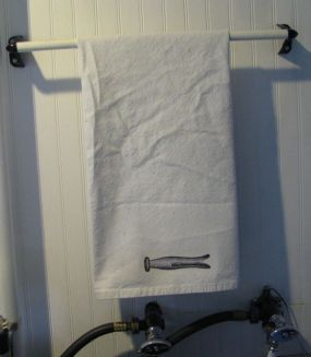 A towel for the laundry sink.