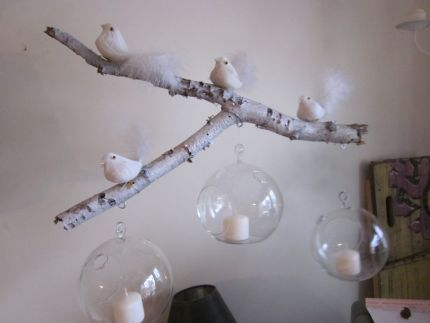 Made From A Birch Branch Lightly Coated W White Spray Paint To Make It