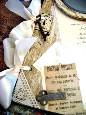 Each piece of ephemera came from the same wedding ceremony celebrated in the spring of 1895.  Newspaper clippings  Wedding and reception invitations Envelopes    Pieces of lace