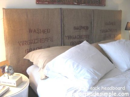 Headboard made with upcycled burlap coffee bean bags.