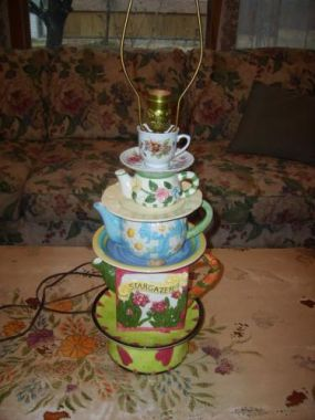 Teapot lamp I made from some teapots I collected. Now to find the perfect lampshade!