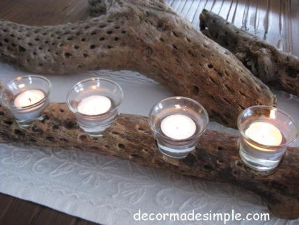 Dried Cholla cactus found on the Arizona desert upcycled to make a votive candle holder.
