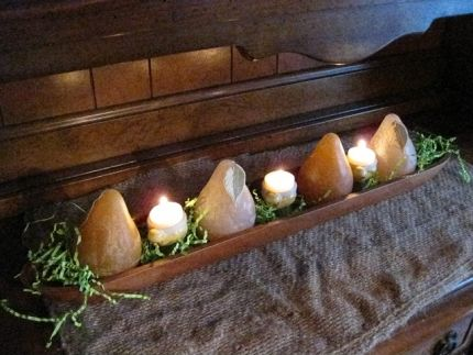 Baquette Bread Tray adorn with pears & easter chick candles.