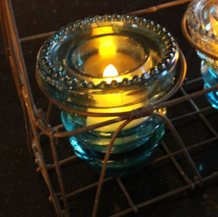 Glass Insulator Tea Light Holder Junkmarket Style