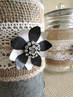 Burlap, lace, and rhinestones.  A perfect way to dress up a dented thermos and old jar.