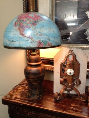 Globe Lamp and Found Object Bookend
