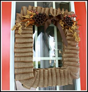 Finished product cost less than $6.00 - the price of the 10 yard roll of burlap ribbon.