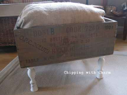 Put your feet up wine crate ottoman junkmarket style for Where to put ottoman