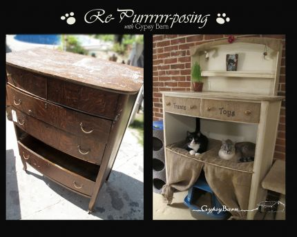 The Before and After. Lovely Dresser on its way to the dump!? I think not!