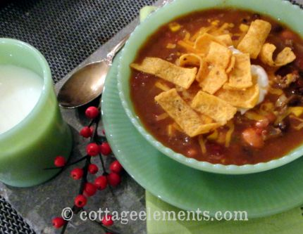 I actually saw this Taco Soup recipe first on facebook.  It didnt give any attribution to the originator of it so I did my research.  Thank you Google!