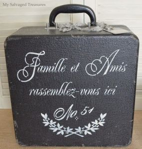 A vintage typewriter case makes a great chalkboard candidate, and the French stencil was a perfect fit.       ~ ~ Family and Friends gather here ~ ~