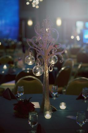 Centerpieces created for a corporate event; the trees are made from polished aluminum.
