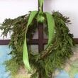 I used the end of my cedar rope greenery to make a mini-wreath.