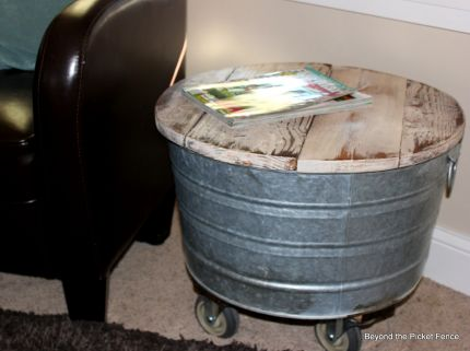 I added wheels I got for free from a pallet to a washtub.