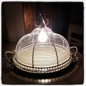 1950s Wire Cake Plate turned Chandelier