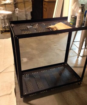 before: Heavy steel media cart, auction