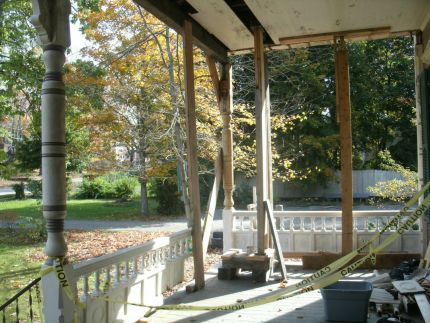 the porch is under construction