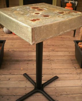 Old table base + galvanized tin top
