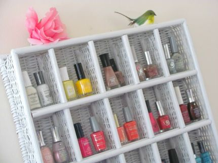 White Whicker Nail POlish Rack