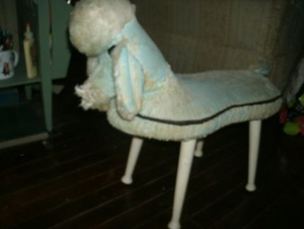blue poodle stool- looks like a toddler could ride it and have fun