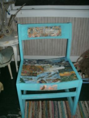 It was just a plain, wooden chair. I painted it blue to give it some color, and then it started to speak to me.
