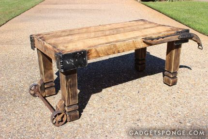 Horse Hame and Caster Barn Wood Coffee Table JUNKMARKET Style