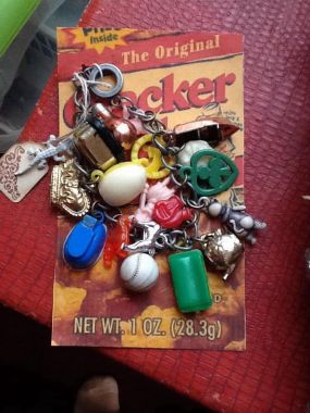 One of our favorite finds were these vintage Cracker Jack prizes! What a fun bracelet/conversation piece!  #thepickersdaughter
