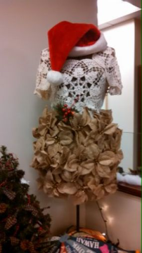 Betty Jo is all dolled up in her handmade doily top and burlap poinsettia skirt