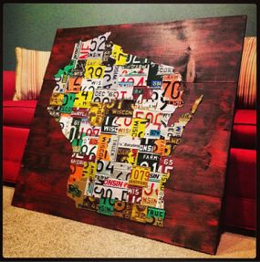 Map of Wisconsin counties - all 72 counties represented by a different vintage license plate.