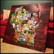 Wisconsin Map - License Plate Art