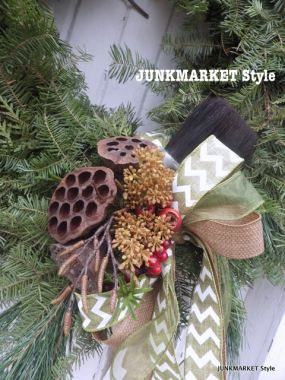 A plain ordinary wreath with just a few embellishments. No need to over do!