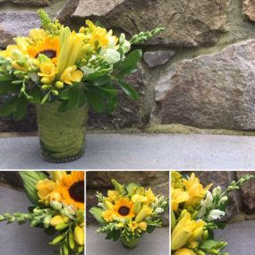 Yellow Freesia is a summertime favorite of mine. Throw in some snaps and hosta fresh from the garden and you my friends are good to go!!!