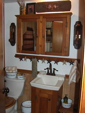 Bathroom Light Fixtures Rusting primitive powder room - junkmarket style