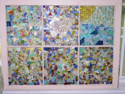 Old window art created from recycled glass