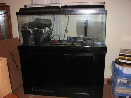 A pix of the aquarium and stand; doesnt show the water damage to the stand.