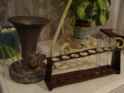 Candy - I found a test tube holder - and a heavy metal thingamajig that will make a great vase!!