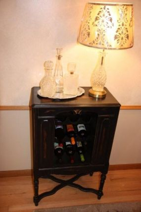 Vintage radio cabinet rehabbed and ready for entertaining!! The vintage decanter lamp is similar to one that Sue recently posted. This one was a vintage version found as is and just needed a new shade from Target added to it. Stop on over and well share a bottle of wine!